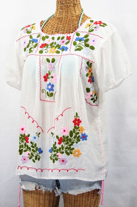WHITE BLOUSE Bohemian Shirt Dress Peasant Top Mexican Embroidered Blouse Small Cotton Embroidery Clothing