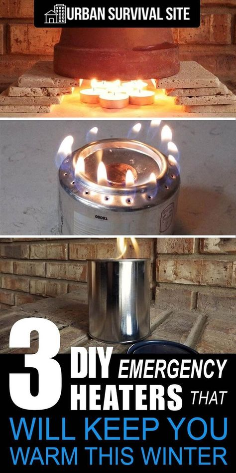 Whether it's a small shed, a garage, or your whole house, these do-it-yourself emergency heaters really deliver. Here's how to make them. #urbansurvivalsite #diyheater #emergencyheater #winter #frugalliving #emergencypreparednesskit
