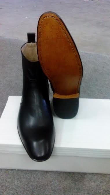 Handmade men Black side zipper ankle