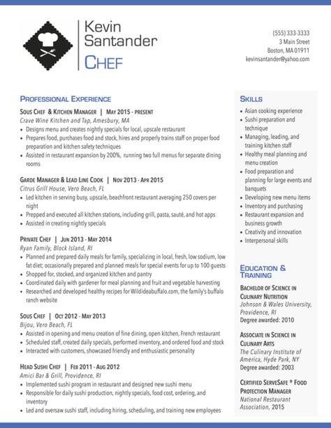 Resume Design for a Chef Resume Pinterest - chef resume