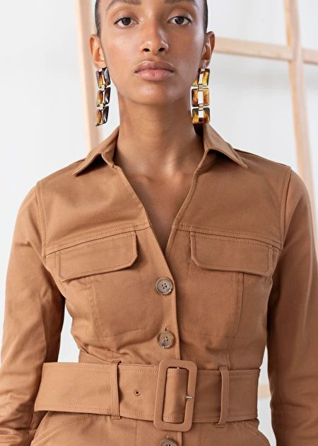 Belted Workwear Mini Dress - Camel - Mini dresses - & Other Stories