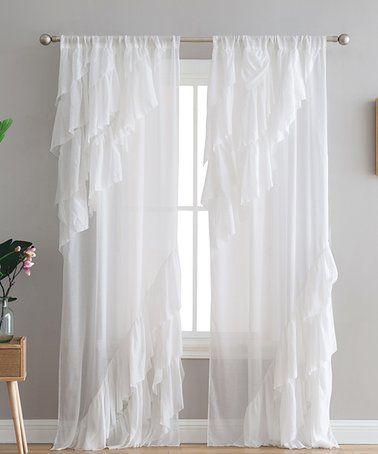 White Peach Oak Astrea Ruffle Curtain Panel Zulily Zulilyfinds Ruffle Curtains Panel Curtains Perfect Bedroom