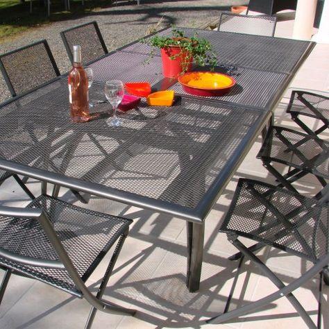 Salon de jardin - Table alu + 6 chaises plateau RALLONGE ...
