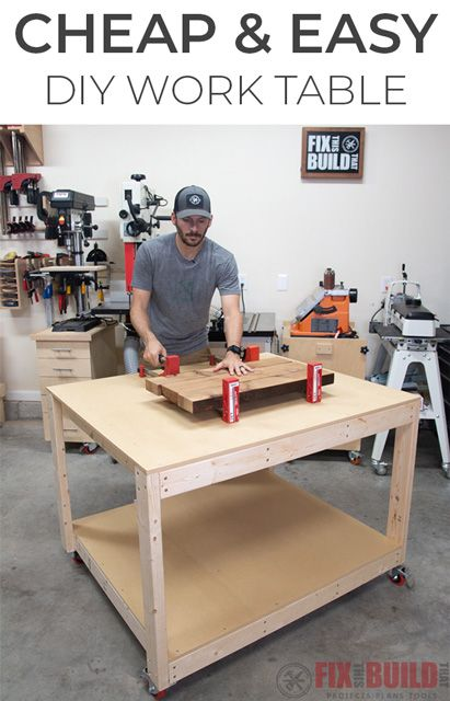 This DIY Work Table is exactly what I need for my shop.  Tons of space and CHEAP