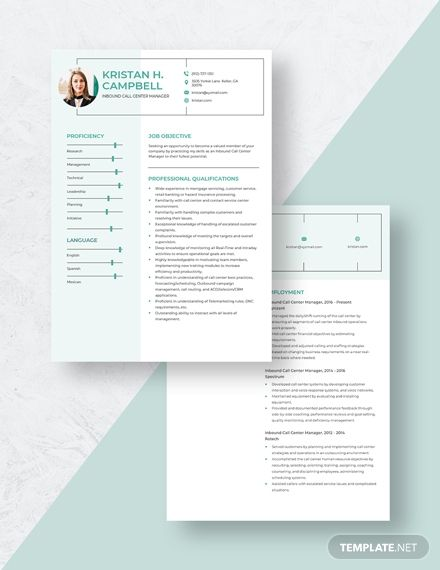 Inbound Call Center Manager Resume Template In 2020 Manager Resume Resume Template Call Center