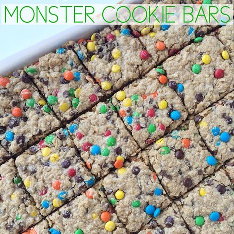 (No Flour) Monster Cookie Bars Recipe Desserts with brown sugar, granulated sugar, salted butter, large eggs, vanilla extract, creamy peanut butter, quick oats, old-fashioned oats, baking soda, M&M's Candy, mini chocolate chips