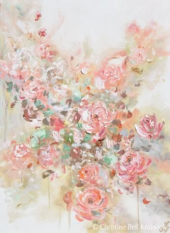 Original Art Abstract Floral Painting Textured Pink Flowers Coral