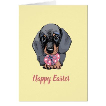 Dachshund Puppy Yellow Easter Card Zazzle Com Dachshund Quotes
