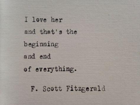 F. Scott Fitzgerald quote hand typed on antique typewriter