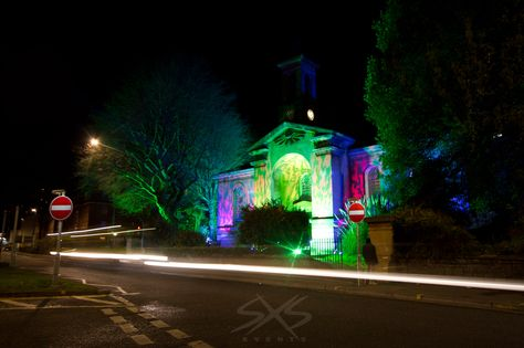 Outdoor Architectural Lighting In Green And Purple Www