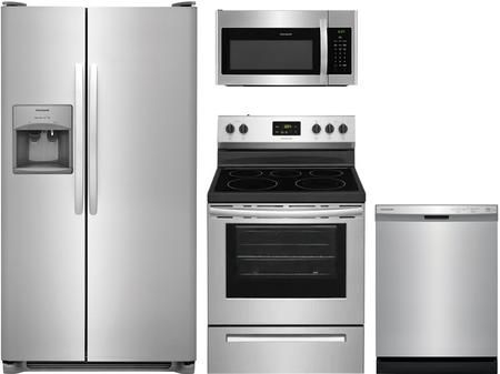 4 Piece Kitchen Appliances Package With Ffss2615ts 36 Side By Side Refrigerator Fcre3052as 30 Kitchen Appliance Packages Over The Range Microwaves