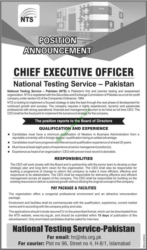 NTS Jobs In National Testing Service Pakistan Apply Online 2017 - chief executive officer job description