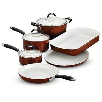 Rachael Ray 14 Piece Aluminum Non Stick Cookware Set In 2020 Copper Cookware Set Ceramic Nonstick Cookware Copper Cookware