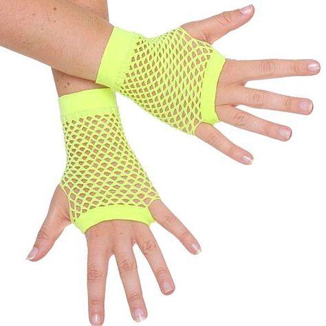 Short Fishnet Mesh Net Gloves 80s Hen Night Fancy Dress Costume Accessories Rave