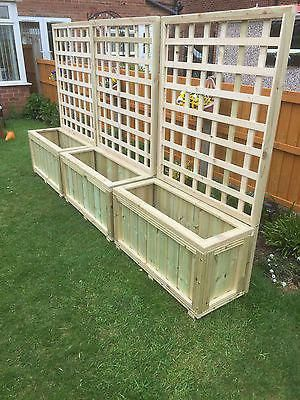 Wooden Planters With Trellis Garden Decking Planter Local Delivery Or Postage Pergolaarbor With Images Wooden Garden Garden Boxes Wooden Planters With Trellis