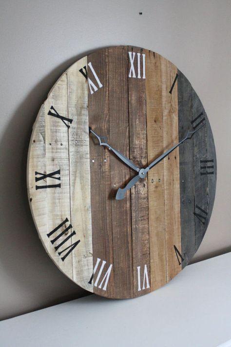 Large Wall Clock Modern Rustic Farmhouse Decor 36 Inch Round Clock Grey Gray Brown Tan Natural Reclaimed Wood 5 Year Anniversary Gift Wood Wall Clock Rustic Wall Clocks Diy Clock Wall