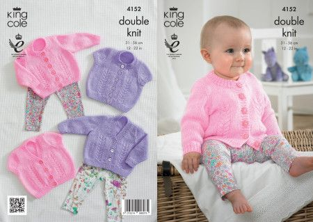 Double Knitting Pattern Baby DK Long Sleeved Cardigans Ribbed Detail UKHKA 52