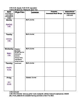 Blank Kindergarten Lesson Plan Template Blank Lesson Plan