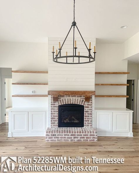 Good Free of Charge Brick Fireplace christmas Strategies Plan Budget Friendly 4 Bed Country Farmhouse Plan Fireplace Built Ins, Brick Fireplace Makeover, Farmhouse Fireplace, Home Fireplace, Fireplace Remodel, Living Room With Fireplace, Fireplace Design, Home Living Room, Living Room Decor
