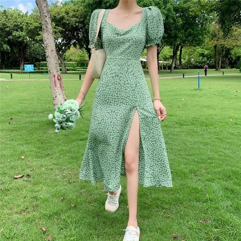 18.57US $ 41% OFF|Summer Floral Bohemia Dress Women French Style Chiffon Split Fairy Dress Female Sexy Elegant Beach Boho Korean Dress 2021 New|Dresses|   - AliExpress
