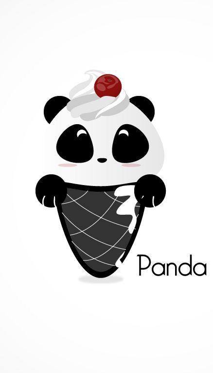 Panda Ice Cream Cone Phone Wallpaper Lock Screen Cute Panda Wallpaper Panda Art Panda Wallpapers