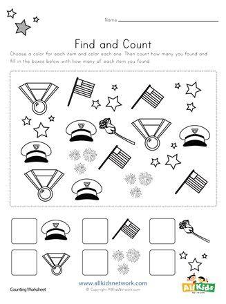 Memorial Day Find And Count Worksheets All Kids Network Kindergarten Worksheets Printable Kindergarten Worksheets Kids Worksheets Printables