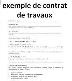 Modele D Exemple De Contrat De Travaux Exemple De Contrat Exemple Devis Le Contrat De Travail