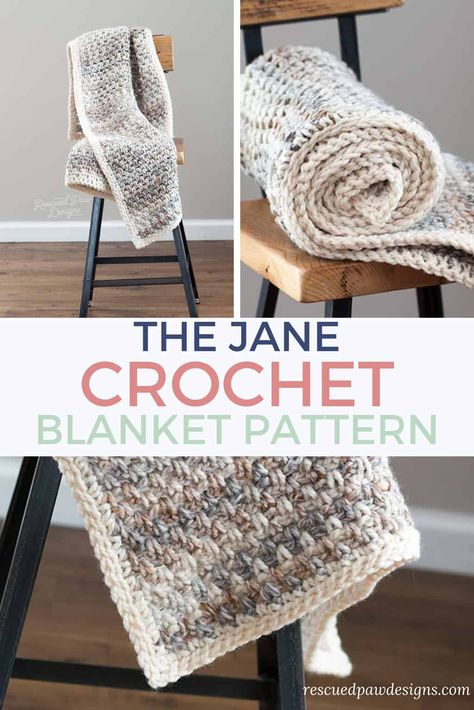 Make the Jane crochet blanket today with this crochet pattern that uses only the single crochet stitch! FREE crochet blanket pattern from Rescued Paw Designs