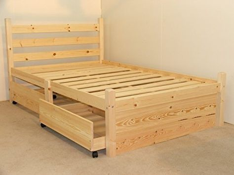 Double Pine Bed With Four Storage Drawers Heavy Duty For Adult Use 4ft Small Double Solid P Moveis De Paletes
