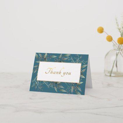 Wedding Thank You Floral Gold Script Leaf Card Zazzle Com