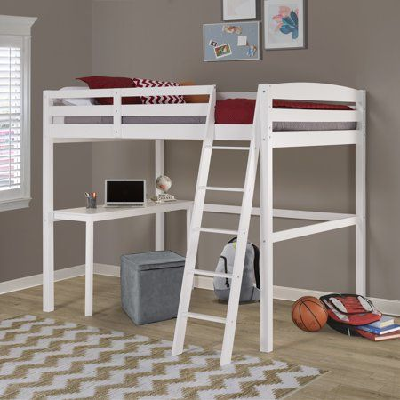 Concord Full Size High Loft Bed With Desk White Finish Walmart Com Loft Bed Twin Loft Bed Low Loft Beds