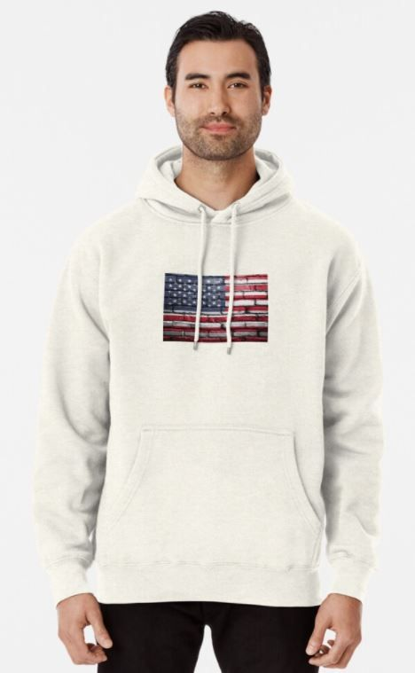 Usa Flag Painted On A Wall Bricks Pullover Hoodie In 2020 Hoodies Shirts Pullover Hoodie