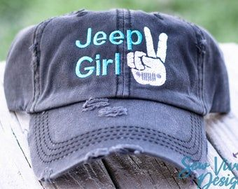 Jeep Hair Dont Care with Wrangler Distressed High Ponytail Baseball or Trucker Cap