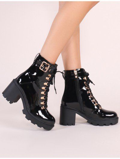 Swag Lace Up Ankle Boots in Black Patent