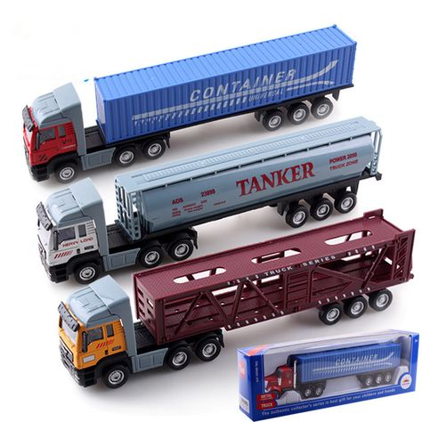 1:32 Alloy Sliding Model Tractors Trailer Cargo Truck Educational Brinquedos Menino Kids Toy Cars