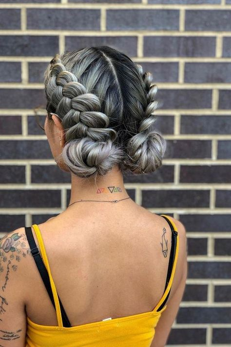 another angle on this beautiful festival ready braided updo! want to recreat the. another angle on this beautiful festival ready braided updo! want to recreat the look at home? try double dutch braids into low space buns Box Braids Hairstyles, Pretty Hairstyles, Hairstyle Ideas, Festival Hairstyles, Two Buns Hairstyle, Hair Ideas, Simple Hairstyles, Protective Hairstyles, Wedding Hairstyles