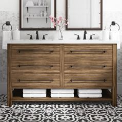 Modern Wooden Double Sink With Drawers And Open Bottom Shelf