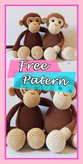 Naughty monkey amigurumi pattern | Crochet monkey pattern, Crochet ... | 526x266