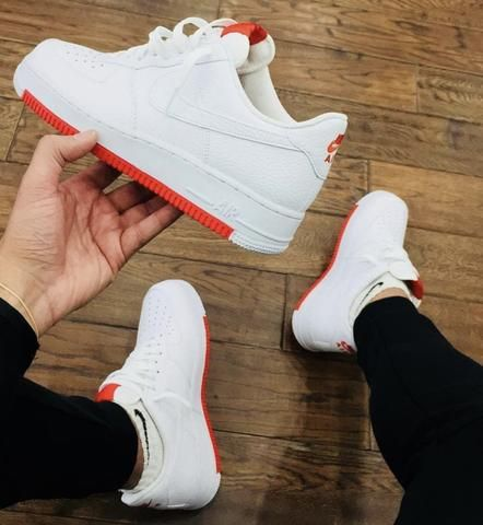 Nike Air Force 1 White Red Bottom Red Bottoms Sneakers