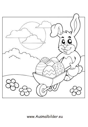Osterhase Mit Schubkarre Zum Ausmalen Ausmalbilder Malvorlagen Ostern Osterhase Kindergarten Osterei Ausmalbilder Osterhase Osterhase Malen