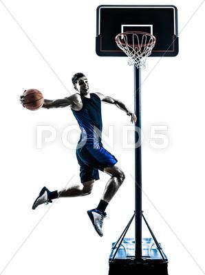 Caucasian Man Basketball Player Jumping Dunking Silhouette Stock Photos Ad Basketball Player Caucasian Man Basketball Players Mens Basketball Players