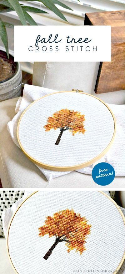 So beautiful! GORGEOUS fall tree cross stitch pattern, FREE download. Uses DMC threads. Perfect for autumn and Thanksgiving displays or gallery walls. See how I create my own cross stitch patterns and get a free downloadable for this cross stitch pattern. #fall #autumn #crossstitch #embroidery #crossstitchpattern