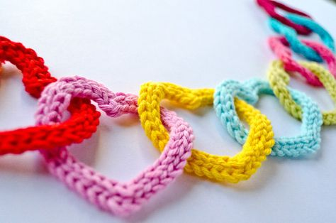 Garland of Colorful Hearts PDF Crochet by oneandtwocompany