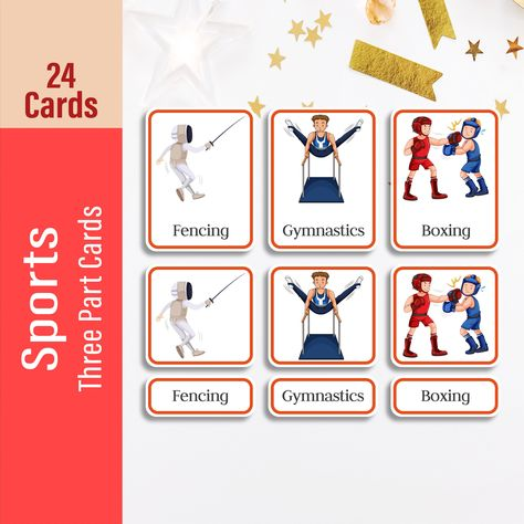 SPORTS Three Part Flash cards, Montessori Toddler Flashcards For Kids, Early Learning Montessori Materials for Busy Book