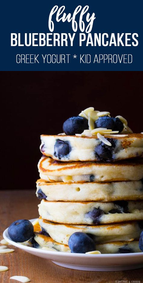 Blueberry Almond Pancakes are made with Greek yogurt to make them extra fluffy! The perfect healthy breakfast that kids will love. #sweetpeasandsaffron #breakfast #healthy #pancakes