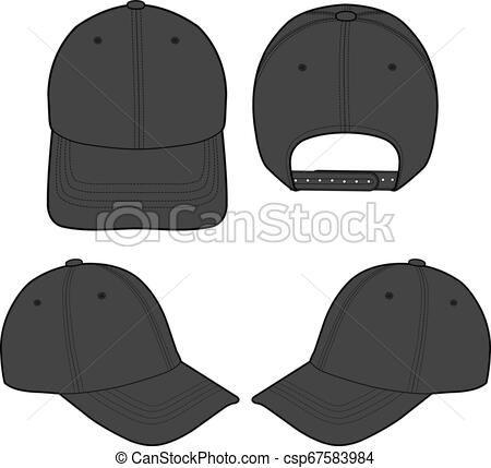 Baseball Cap Fashion Flat Sketch Template Vector Stock Illustration Royalty Free Illustrations Stock Clip Art Icon Stock Clipart Icons Logo Lin
