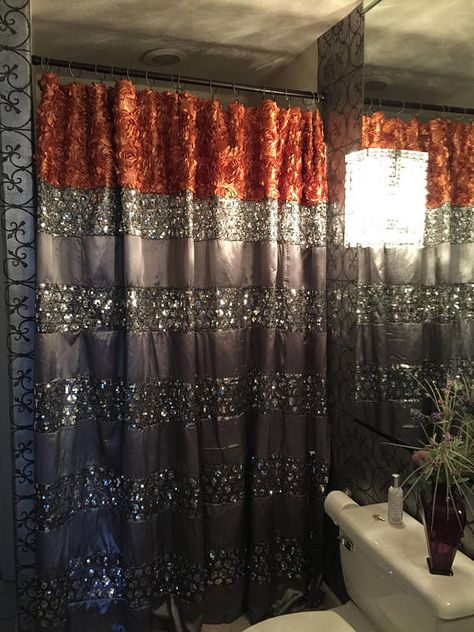 Custom Extra Long Shower Curtain Bling Dazze Platinium Xlong Deep