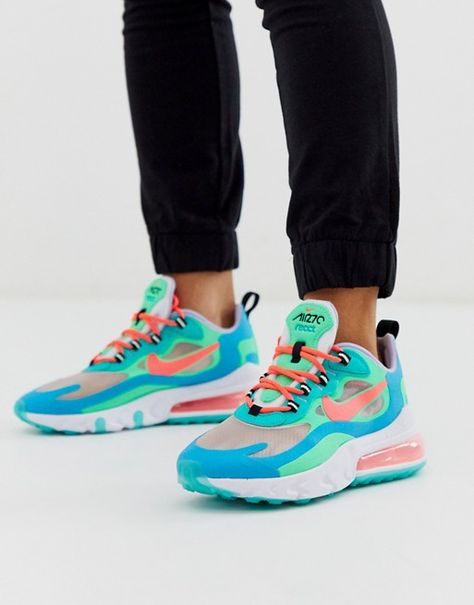 Nike Nike W Air Max 270 React Electro Green Blue Lagoon Hyper Jade Flash Crimson
