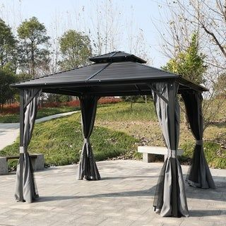 Outsunny 10 X 10 2 Tier Roof Steel Hardtop Aluminum Permanent Gazebo With A Mesh Net And Privacy Sidewalls Black In 2020 Gazebo Aluminum Patio Permanent Gazebo