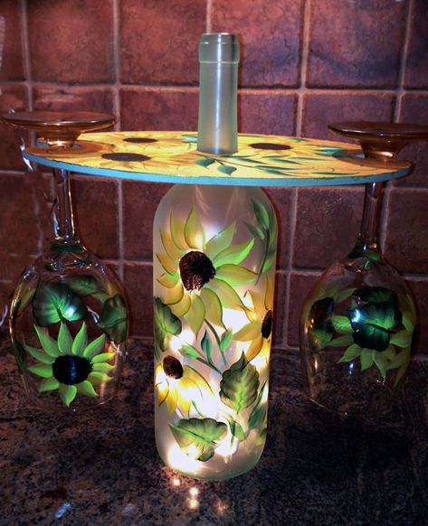 Hand Painted Lighted Wine Bottle with Matching by janjackson, $30.00